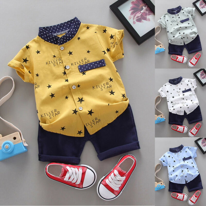 Toddler Kids Baby Boy Star Letter Gentleman Shirt Top+Shorts Outfits Clothes Set