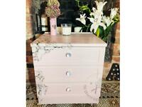 Dusky pink and roses three drawer unit with legs £70