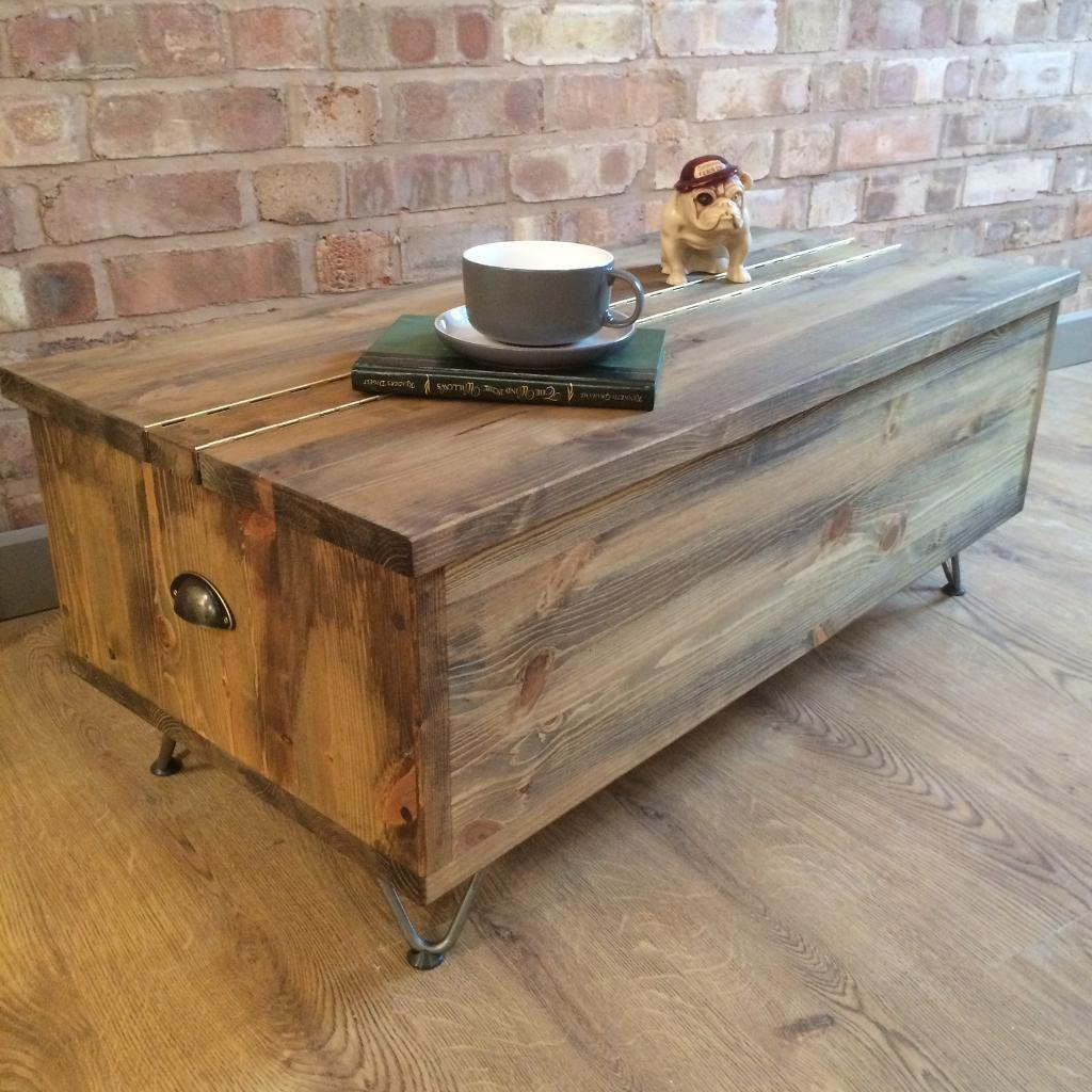 New Rustic Industrial Vintage Retro Trunk Pine Blanket Toy Box/Coffee Table  With Metal Hairpin