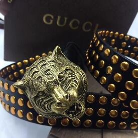 Big buckle gold studded very unique new design men's black leather belt Gucci boxed receipts