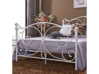HALF PRICE 4 FOOT AND DOUBLE METAL BEDS!! WHITE AND BLACK!! ONLY £99