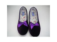 NEW Ladies Size 6 Ballerina Slippers from Damart - Dark Violet Colour