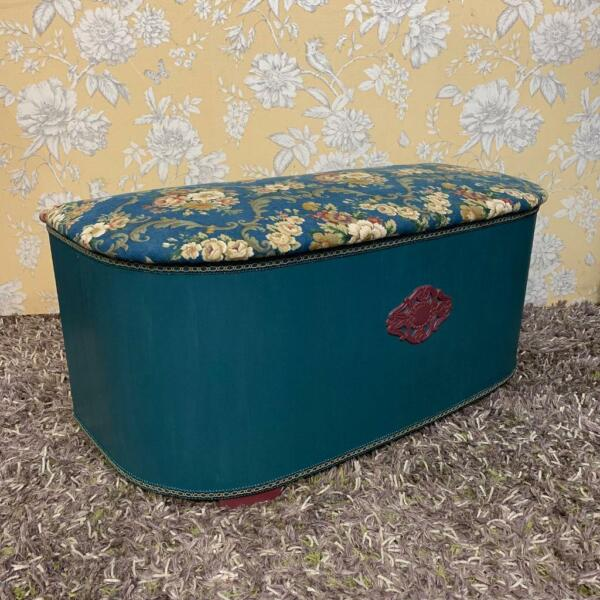 Ottoman / blanket box genuine Art Deco 1930's teal colour floral upholstery Sanderson fabric , used for sale  Brighton, East Sussex