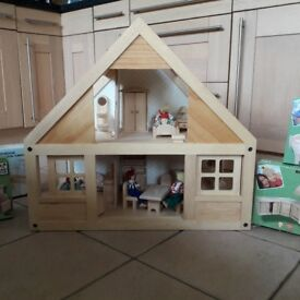 Wooden Dolls House + furniture and dolls