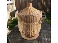 Shabby Chic Wicker Tan coloured Laundry Basket