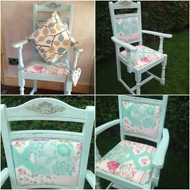 shabby chic carver dining desk chair duck egg fabric seat and back