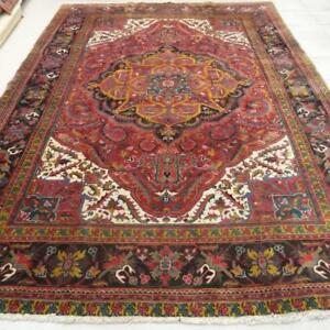 Persian Heriz Rug, Wool , Handmade Carpet  (Red, Beige, Navy Blue, Yellow, Green and Blac) 11.1 X 8.03 ft (340 x 245 cm)