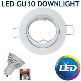 10 X LED GIMBAL 5W GU10 TILT RECESSED CEILING SPOTLIGHTS DOWNLIGHTS FITTING WHITE