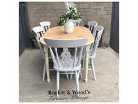 Pretty cottage extending pine table & 6 farmhouse chairs