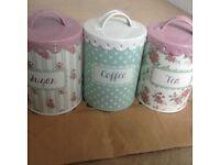 Trio of Floral Coffee Tea and Sugar Jars