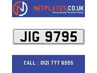 'JIG 9795' Personalised Number Plate Audi BMW Ford Golf Mercedes VW Kia Vauxhall Caravan van 4x4