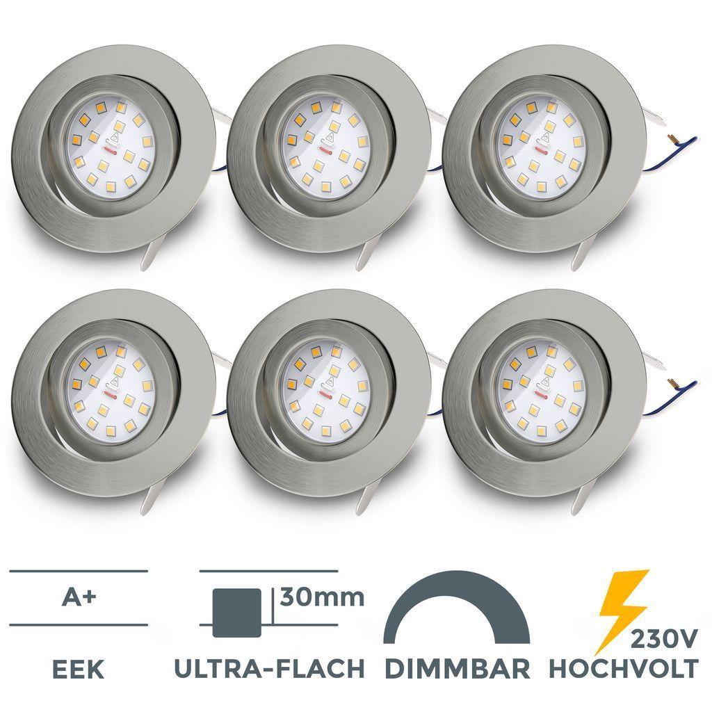 6 Einbaustrahler 230V dimmbar ultra-flach Einbau-Spots Lampen Deckenleuchten SET