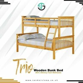 🔴MAKE THE COMFORT DEAL🔵Kids Bed Trio Wooden Bunk Bed In Multi Colors Optional mattress