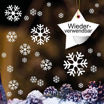 Fensterbild Schneeflocken WIEDERVERWENDBAR weiß 12400 Weihnachten