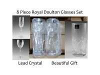 Royal Doulton Crystal Glasses Set Lead Wine Glass Flute Wedding Anniversary Gift For Wife NEW!