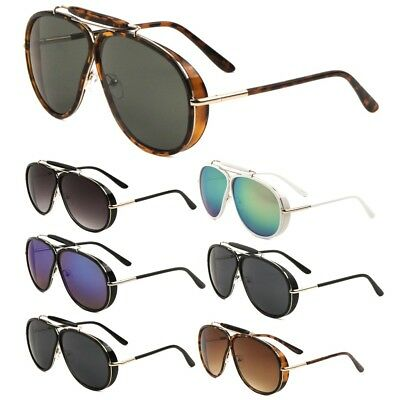 OVERSIZED OUTDOORSMAN AVIATOR SUNGLASSES W/ SIDE SHIELD & BROW BAR (Aviator Sunglasses Side Shields)