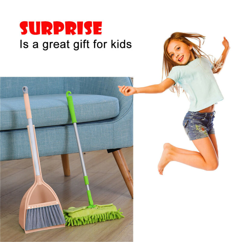 Kid's Housekeeping Cleaning Tools Set-3pcs, Small Mop Small
