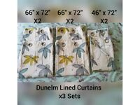 3 Sets Of Dunelm Lined Eyelet Curtains