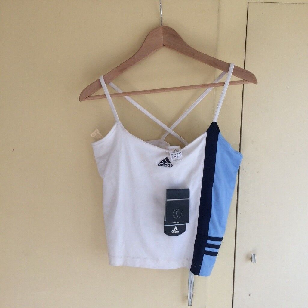 ADIDAS LADIES CLIMALITE CROP TOP SIZE 16 WHITE & BLUE- NEW WITH TAG #BOOT CAMP#