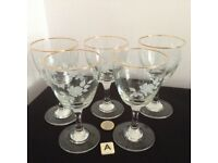 Vintage Crystal Coloured Engraved Glasses. Only 50p each Glass. Lots to choose from.