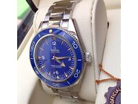 Complete Omega box set silver bracelet blue face glass back Omega seamaster 300 with sweeping swiss