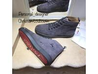 Christian loubs grey suede leather