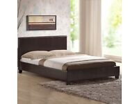 6 month old brown faux Leather Bedstead Frame 5FT King Size / Memory Foam with Springs Mattress