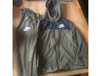 Boys khaki and black tracksuit 8-10 trousers and jacket is 10-12 - £20