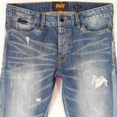 Mens SuperDry BIKER FIT Straight Leg Blue Jeans W34 L36