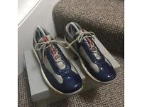 Prada patent blue trainers