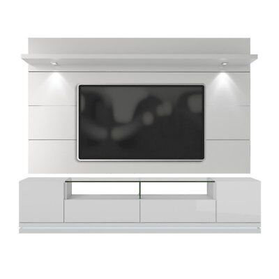 Manhattan Comfort Cabrini 85  Tv Stand And Wall Panel In White Gloss New
