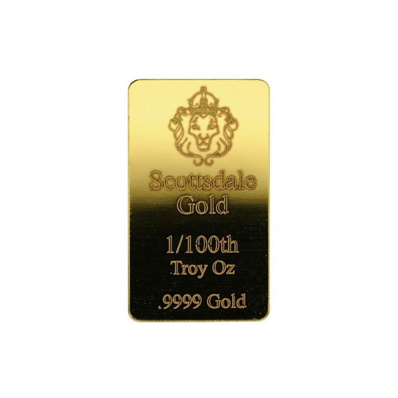1/100 oz .9999 Gold Bar by Scottsdale Mint - Fractional Gold Bullion #A504