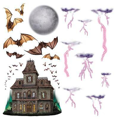 HAUNTED HOUSE and Night Sky WALL Props 16 Piece Insta Theme Wall Backdrop - Halloween Sky Background