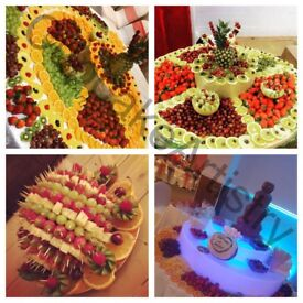 Bouncy castle , chocolate fountain, Candyfloss, fruit display, wedding cakes, cakes, cupcakes,