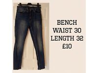 Men's Bench Jeans waist 32. Only worn and washed once - good as new! £10 ono.