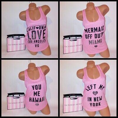 Tank Top Sleeveless Bluse (Victoria Secret Tank Top Sleeveless Pink Logo Racerback Supermodel Essentials)