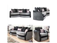 Black and grey snuggle sofa matching chair plus free delivery