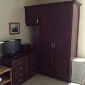Full range of mahogany coloured wardrobes and drawer units