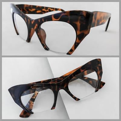 Classy RETRO Cat Eye Style HALF CUT OFF Clear Lens EYE GLASSES Tortoise (Half Frame Cat Eye Glasses)