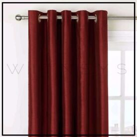 """red eyelet lined curtains 90"""" x 108"""""""