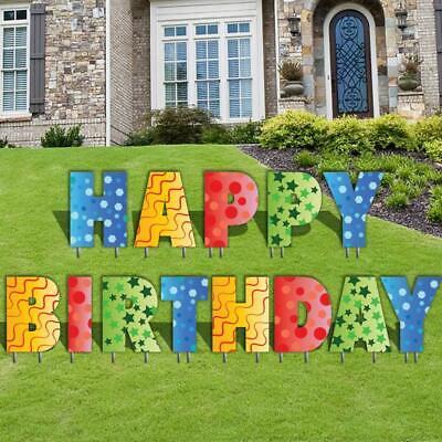 Birthday Lawn Decoration - Happy Birthday Letters Yard Card