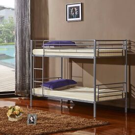 BRAND NEW ** SINGLE METAL BUNK BED IN SILVER & WHITE
