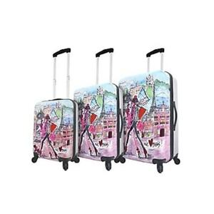 Mia Toro ITALY Izak-Paris Hardside Spinner Luggage 3 Piece Set [19in, 24in, 27in]