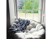 Medium Papasan Chair - Super Comfy. Brown/Cream