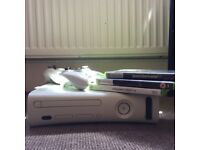 Xbox 360 + 2 controllers & 3 games