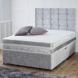 🌷💚🌷 SPECIAL OFFER 🌷💚🌷DOUBLE CRUSHED VELVET DIVAN BED BASE WITH DEEP QUILTED MATTRESS