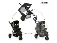 EXDISPLAY HAUCK FREERIDER UNISEX BLACK DOUBLE TANDEM TWIN BUGGY - BEST SELLER !! WITH RAINCOVER