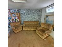 Three Seater Sofa & 2x Armchairs on Castors