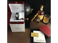 Silver Cartier Santos 100 with White Face and Btown Leather Strap Comes bagged and boxed