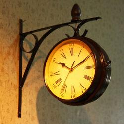 Vintage Double Sided Wall Clock Silent Railway Station Wall Clock Art Clock
